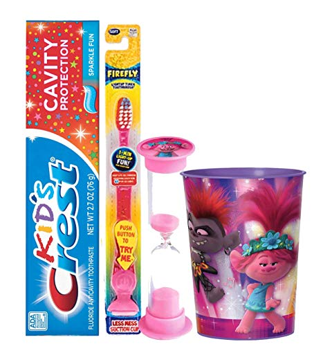 "Dreamworks ""Trolls"" Inspired 4pc Bright Smile Oral Hygiene Set! Flashing Lights Toothbrush, Toothpaste, Timer & Rinse Cup! Plus Bonus Tooth Necklace"