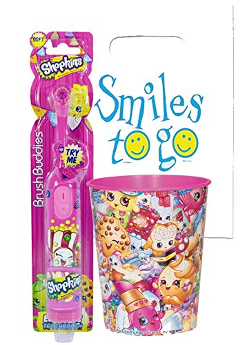 Shopkins Inspired 2pc Bright Oral Hygiene Bundle Turbo Powered Spin Toothbrush & Rinse Cup Plus Dental Gift Bag & Necklace