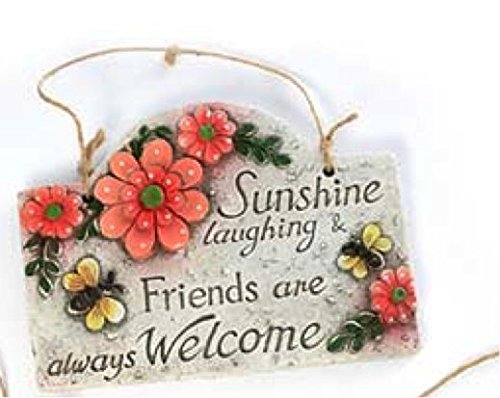Inspirational Spring Outdoor Garden Decor Floral Plaques (Sunshine, laughing, & Friends are always welcome)