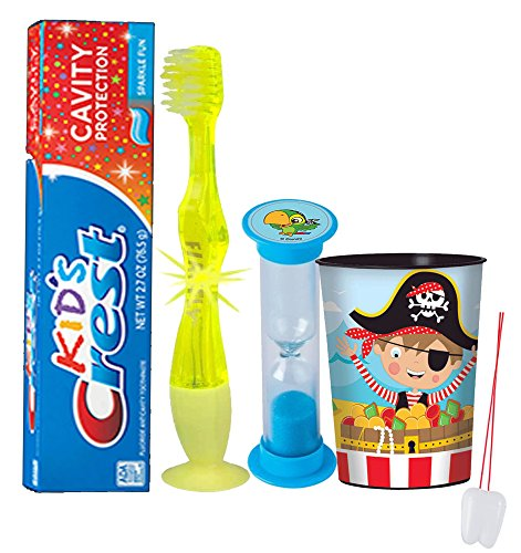 "Yo Ho, Yo Ho, ""Pirates"" Inspired 4pc Bright Smile Hygiene Set! Flashing Lights Toothbrush, Toothpaste, Timer & Cup! Plus Bonus Tooth Necklace"