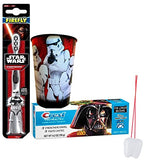 "Star Wars The Force Awakens ""Stormtrooper"" 3pc Bright Smile   Hygiene Set! Toothbrush, Toothpaste & Rinse Cup! Plus Bonus Tooth Necklace"