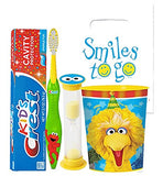 Sesame Street 4pc Bright Smile Oral Hygiene Bundle! Toothbrush, Crest Kids Toothpaste, Timer & Rinse Cup! Plus Bonus Tooth Necklace