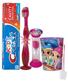 "Nickelodeon ""Shimmer & Shine"" Inspired 4pc Bright Smile Oral Set! Flashing Lights Toothbrush, Toothpaste, Timer & Cup! Plus Bonus Tooth Necklace"
