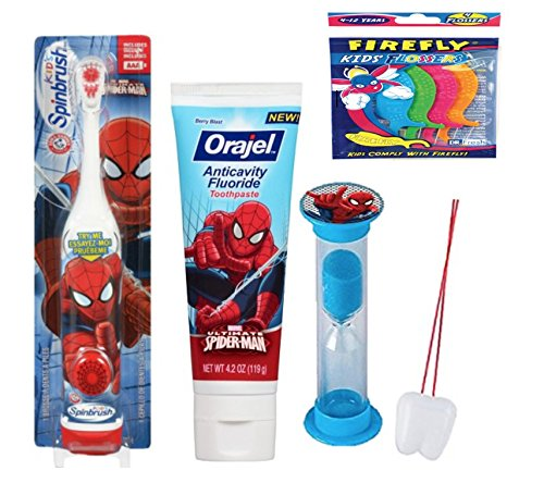 Marvel SuperHero Inspired 3pc Bright Smile Oral Hygiene Bundle! Spider Man Turbo Powered Toothbrush, Toothpaste & Cup! Plus Bonus Tooth Necklace