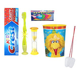 Sesame Street Big Bird Inspired 4pcs Bright Smile Oral Set! Flashing Lights Toothbrush, Toothpaste, Timer & Cup! Plus Bonus Tooth Necklace!