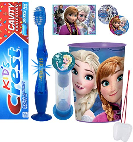 Frozen Elsa Inspired 4pcs Bright Smile Hygiene Bundle Light Up Toothbrush, Toothpaste, Timer & Rinse Cup Plus Stickers & Necklace