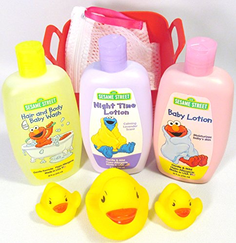 Bundle of – 6 Items: 123 Sesame Street Hair and Body Baby Wash, Baby and Night Lotion with Toy Bath Duck Set and Small Mesh Laundry Bag in a Bin (Red)