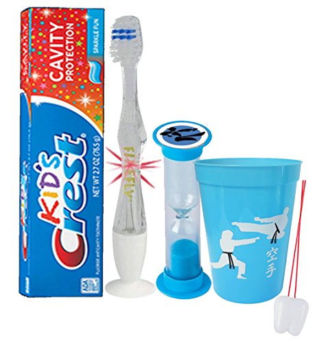 """Karate "" Inspired 4pc Bright Smile Oral Hygiene Set! Soft Manual Toothbrush, Toothpaste, Brushing Timer & rinse Cup! Plus Bonus Tooth Necklace"