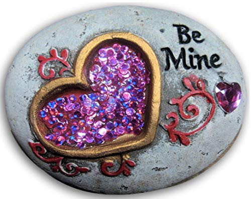 "Garden Valentine Hearts Themed Cement Stepping Stones With Gemstones 1 Stone With Sayings ""Be Mine"""