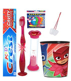 PJ Mask Owlette inspired 4pc Bright Smile set! Flashing Lights Toothbrush, Toothpaste, Timer & Cup! Plus Bonus Tooth Necklace!