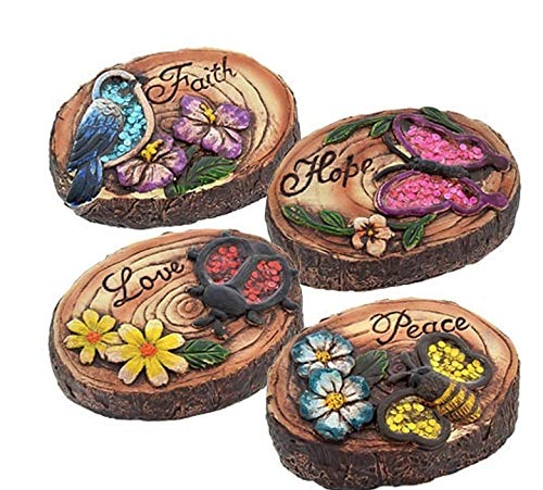 "Garden Collection Woodland Round Cement Decorative ""FAITH"", ""HOPE"", ""PEACE"" AND LOVE"""