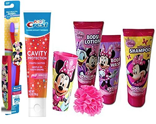 Dinsey Jr. Minnie Mouse  Beauty Collection! Includes Body Wash, Lotion, Bubble Bath &  Puff! Plus Bonus Bright Smile Oral Hygiene Set!