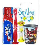 Transformers Inspired 4pc Bright Oral Hygiene Bundle Light Up Toothbrush, Toothpaste, Timer & Rinse Cup Plus Dental Gift Bag & Necklace