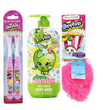 Shopkins 4pcs Bath Bundle: 2pk Shopkin Toothbrush, Apple Blossom Apple Scented Body Wash, Bath Sponge, and Pack of Shopkins Tissue