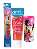 Disney Jr. Minnie Mouse Soft Manual Toothbrush & Toothpaste Bubblegum flavor 4.2 oz Plus Bonus Pink Minnie Mouse MouthWash Rinse Cup!