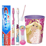 "Barbie Inspired Girls 5pcs Bright Smile Oral Hygiene set! 2 Soft Manual Toothbrush, Toothpaste, Timer & Cup! Plus""Remember to Brush"" Visual Aid!"