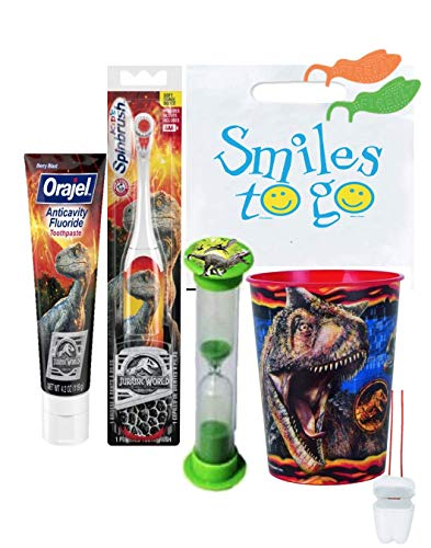 Jurassic World 4pc Bright Smile Hygiene Bundle! Turbo Toothbrush, Toothpaste, Brushing Timer & Rinse Cup! Plus Bonus & Tooth Saver Necklace!
