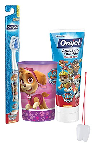 "Paw Patrol ""Skye"" Inspired Girls 3pc Bright Smile Oral Set! Toothbrush, Toothpaste & Mouthwash Rinse Cup! Plus Bonus ""Remember To Brush"" Visual Aid"