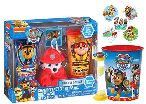 "Paw Patrol ""Marshall"" 6pc Bath Time Wash Buddy Gift Set; Bath Hook, Scrubby, Shampoo, Body Wash, Rinse Cup & Timer Plus Bonus"