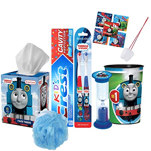 Thomas The Train & Friends 8pc Boys All Inclusive Bathroom Collection! Toothbrush, Toothpaste, Timer, Rinse Cup, Bath Scrubby, Tissue Box Plus Bonus!