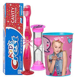 JoJo Siwa Inspired 4pc Bright Smile Oral Hygiene Bundle! Light Up Toothbrush, Toothpaste, Brushing Timer & rinse Cup! Plus Bonus Tooth Necklace