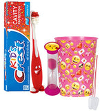 "Emoji ""Valentines Day"" Inspired 4pc Bright Smile Oral Hygiene Bundle! Smiley Face Toothbrush, Toothpaste, Timer & rinse! Plus Plus Tooth Necklace!"