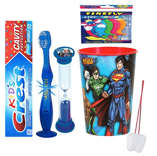 Justice League Inspired 4pcs Bright Smile Set! Toothpaste, Flashing Light Toothbrush, Brushing Timer & Rinse Cup! Plus Bonus Tooth Necklace!