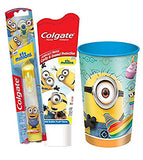 "Despicable Me ""Minions"" 3pc Bright Smile Hygiene Set Minions Turbo Spin Toothbrush,  Mild Bubble Fruit Toothpaste Plus Bonus  Rinse Cup"