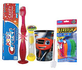 Blaze & The Monster Machine Inspired 5pc Bright Smile Hygiene Bundle! Flashing Lights Toothbrush, Toothpaste, Timer & Cup! Plus Bonus Tooth Necklace!