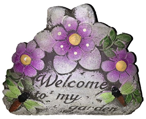 Cute Garden Stones with Flowers (3pcs Gift Set) Love My Garden Bless This Garden Welcome to My Garden