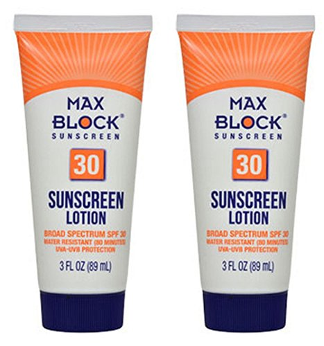 Max Block 30 SPF Sunscreen Lotion, 3 oz.- Pack of 2