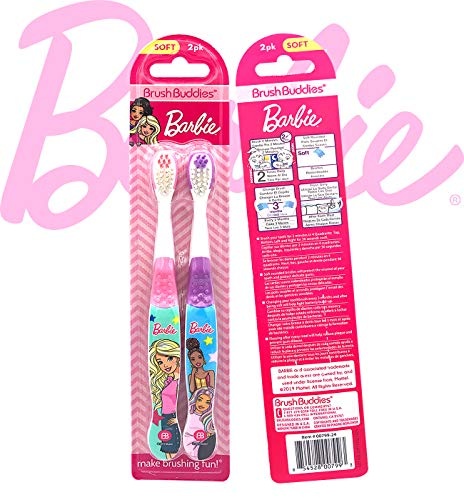 Premium Kids Friendly Designed Happy Brushing Time BarbieGirls Soft Bristle Toothbrush Kit, Manual Toothbrush, Cover Cap, Rinsing Cup, Extra Brushes