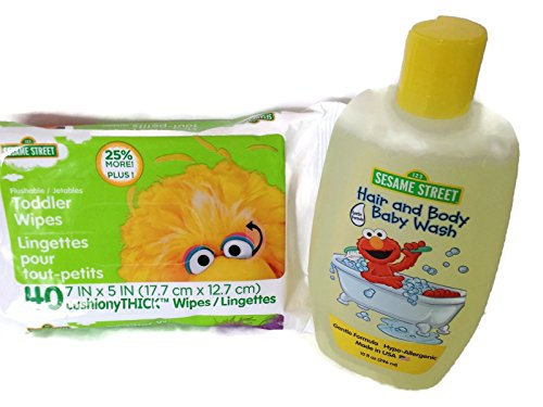 Sesame Street Themed 2 Count Bathroom Bundle 10 Fl Oz Hair and Body Baby Wash & 1pk 40 Flushable Toddler/Baby Wipes