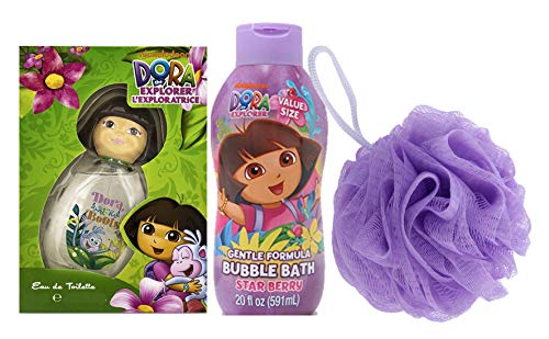 Bundle of 3: Nickelodeon Dora the Explorer Star Berry Bubble Bath, Dora & Boots by Dora the Explorer Kids Fragrance with 3D Cap  and Bath Sponge