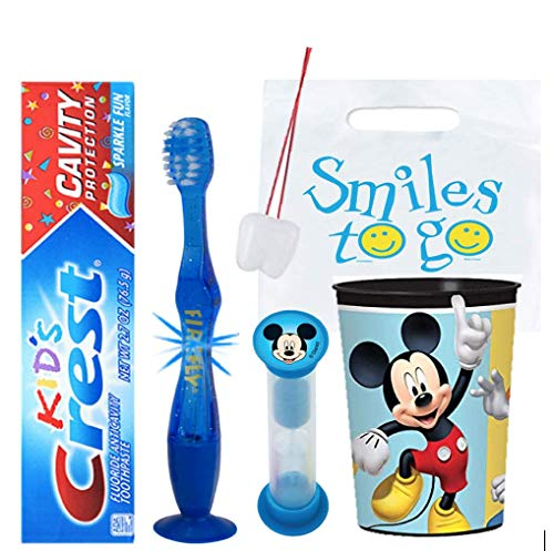 Disney Mickey Mouse Club House Inspired 4pc Bright Hygiene Bundle Light Up Toothbrush, Toothpaste, Timer & Cup Plus Bonus