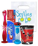 Power Rangers Ninja Steel Inspired 4pc Bright Smile Hygiene Bundle! Light Up Toothbrush, Toothpaste, Timer & Rinse Cup! Plus Bonus Tooth Necklace