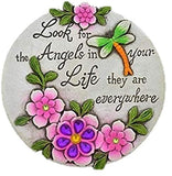 "Stepping Stones with Inspirational Sayings and Sparkly Gemstones, 6"" Inch (one Stone) Look for The Angels in Your Life They are Everywhere"