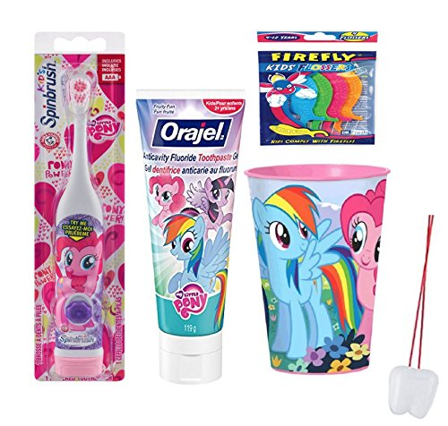 "My Little Pony ""Pinky Pie"" Inspired 3pcs Bundle: Powered Toothbrush, Toothpaste and Mouthwash Rinse Cup! Plus Plus Bonus Tooth Necklace!"