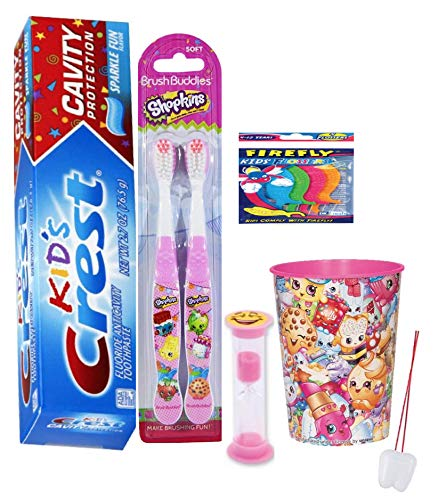 Shopkins 4pcs Bright Smile Hygiene Bundle 2pk Toothbrush, Kids Sparkling Toothpaste and Cup Plus Bonus Timer, Stickers, Tooth Necklace as Visual Aid