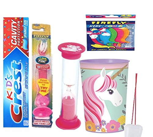 Magical Unicorn Inspired Smile Oral care Bundle! Toothpaste, Flashing Light Toothbrush, Brushing Timer & Rinse Cup! Plus Bonus Tooth Necklace!