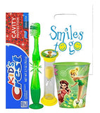 Tinkerbell Inspired 4pc Bright Smile Oral Hygiene Bundle! Light Up Toothbrush, Toothpaste, Timer & Rinse Cup!  Plus Bonus Tooth Necklace
