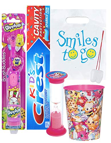 Shopkins Inspired 4pc Smile Oral Hygiene Bundle Turbo Spin Toothbrush, Toothpaste, Brushing Timer & Rinse Cup Plus Dental Gift Bag & Tooth Saver