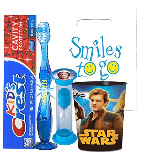 Star Wars Hans Solo Inspired 4pc Bright Smile Oral Hygiene Bundle! Light Up Toothbrush, Toothpaste, Timer & Rinse Cup! Plus Bonus Tooth Necklace