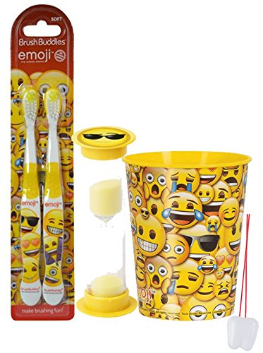 Emoji Inspired 4pc Bright Smile Oral Hygiene Set! 2pk Soft Manual Toothbrush, Brushing Timer & Mouthwash Rinse Cup! Plus Remember To Brush Visual Aid!