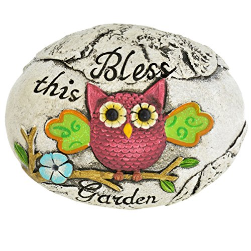 Decorative Garden Stones Set of 3 Owls With Sayings Fairy Garden Accessories