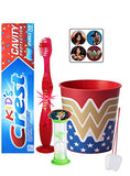 Wonder Woman Inspired 4pc Bright Smile Oral Hygiene Bundle! Light Up Toothbrush, Toothpaste, Brushing Timer & Rinse Cup! Plus Bonus Flossers