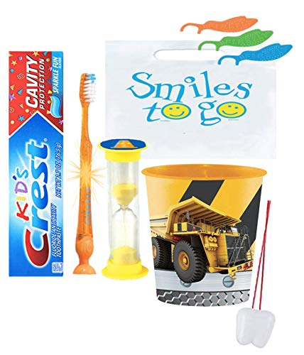 Under Construction Inspired 4pc Bright Smile Oral Hygiene set! Light Up Toothbrush, Toothpaste, Timer & Rinse Cup! Plus Tooth Saver Necklace!