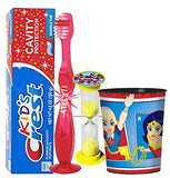 DC  Super Hero Girsl Themed 4pc Bright Smile Hygiene Bundles! Light Up Toothbrush, Toothpaste, Timer & Rinse Cup!  Plus Bonus Tooth Necklace