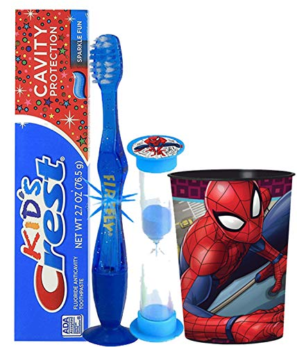 Marvel Spider-Man Inspired Boys 4pc Bright Smile Hygiene Set! Flashing Lights Toothbrush, Toothpaste, Timer & rinse Cup! Plus Bonus Tooth Necklace