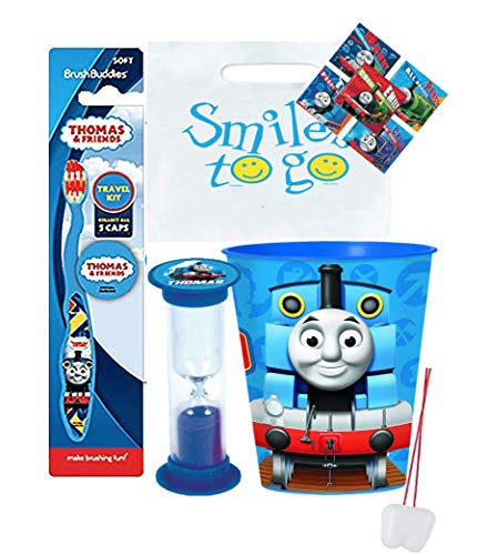 Thomas & Friends 4pcs Bright Smile Oral Hygiene Bundle! Thomas Soft Manual Toothbrush with Cap, Toothpaste,  Timer & Cup! Plus Bonus Tooth Necklace